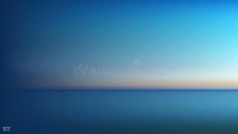 Abstrakt flyg- panoramautsikt av soluppgång över havet Ingenting utom himmel och vatten Härlig fridfull plats också vektor för co vektor illustrationer