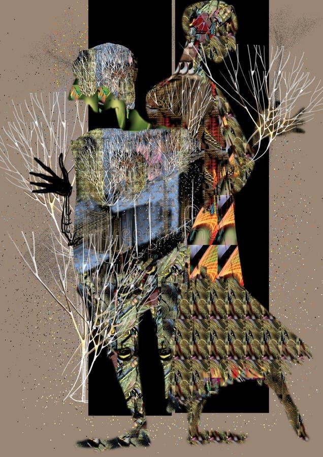 Abstrakt folk som står i en dörrram som rymmer växter i deras händer vektor illustrationer