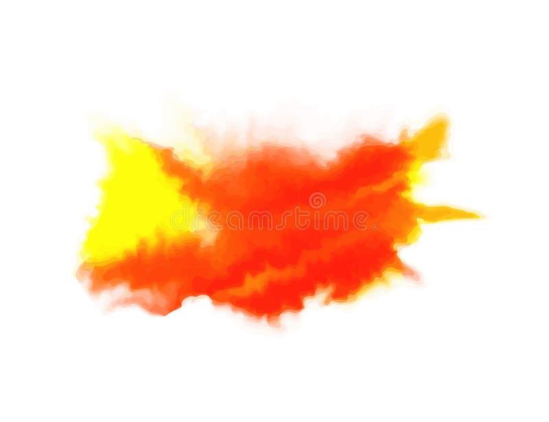 Abstrakt form för gul och röd vattenfärg som isoleras på vit bakgrund Texturbeståndsdel också vektor för coreldrawillustration vektor illustrationer