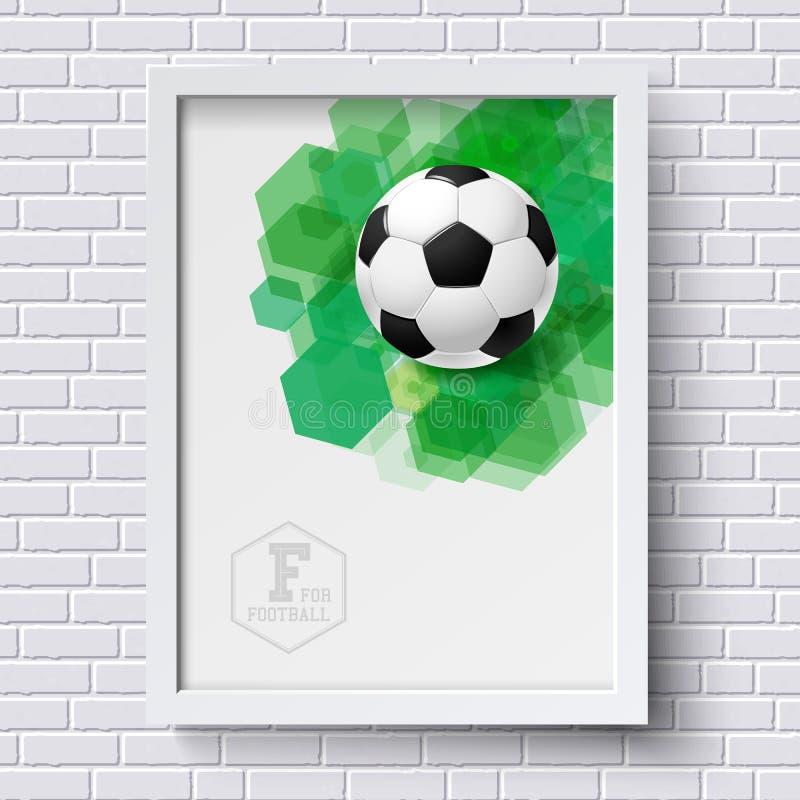 Abstrakt fotbollaffisch Avbilda ramen på den vita tegelstenväggen med foo royaltyfri illustrationer