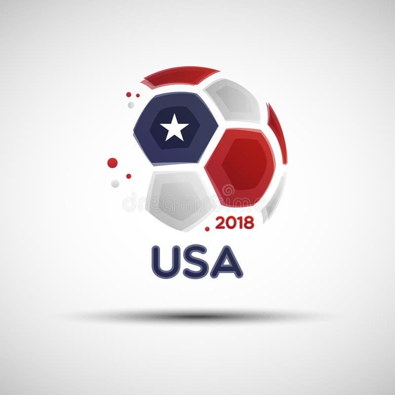 Abstrakt fotbollboll med Amerikas förenta staterflaggafärger royaltyfri illustrationer