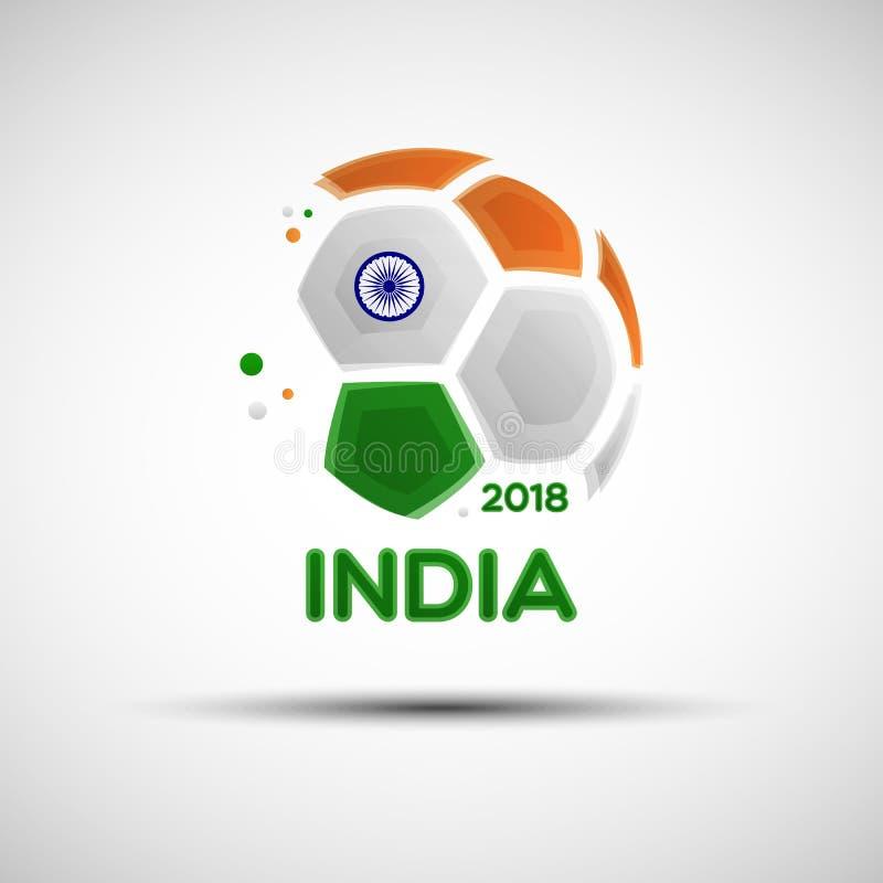 Abstrakt fotbollboll med indiska nationsflaggafärger royaltyfri illustrationer