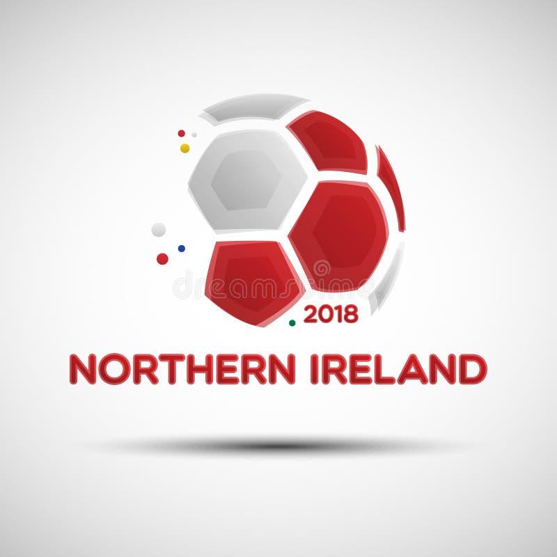 Abstrakt fotbollboll med nordligt - den Irland nationsflaggan färgar vektor illustrationer