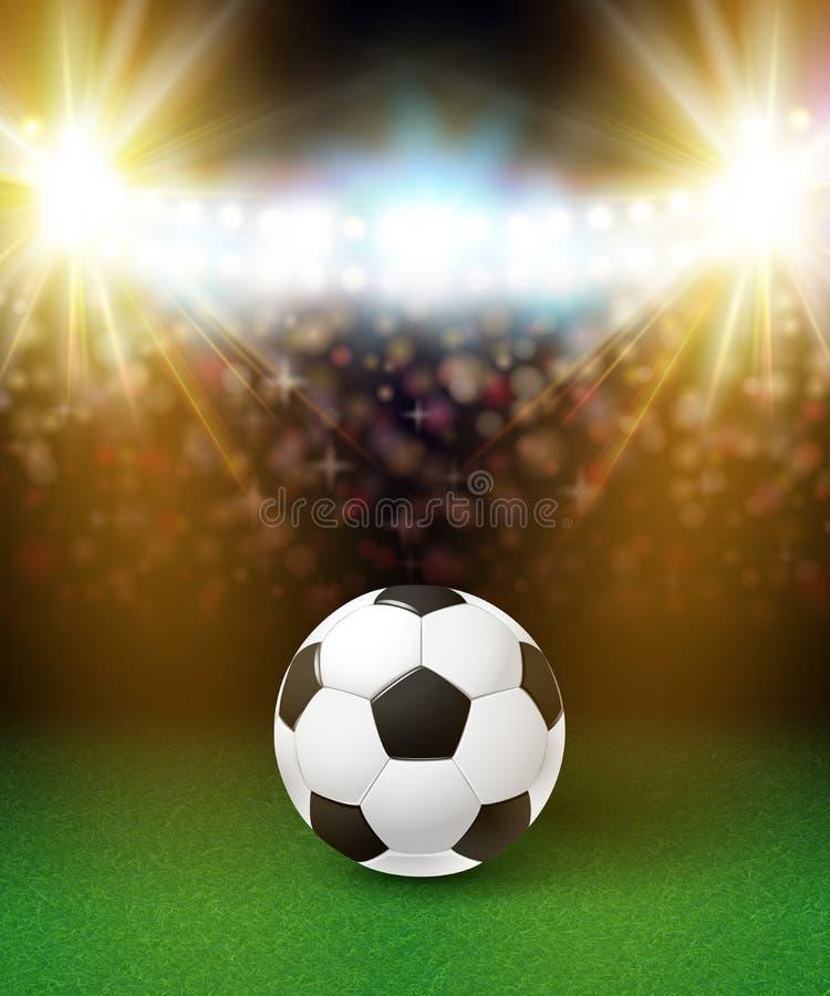 Abstrakt fotbollfotbollaffisch Stadionbakgrund med ljust stock illustrationer