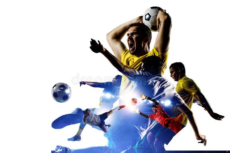 Abstrakt fotbolltema - varmmast match?gonblick royaltyfri bild