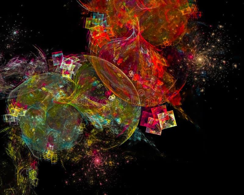 Abstrakt fractal, explosion för design för fantasi för färgstänkenergifantasi som är fantastisk stock illustrationer