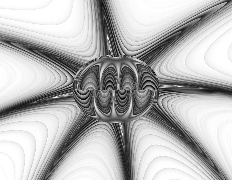 Abstrakt fractalillustration för monokrom vektor illustrationer
