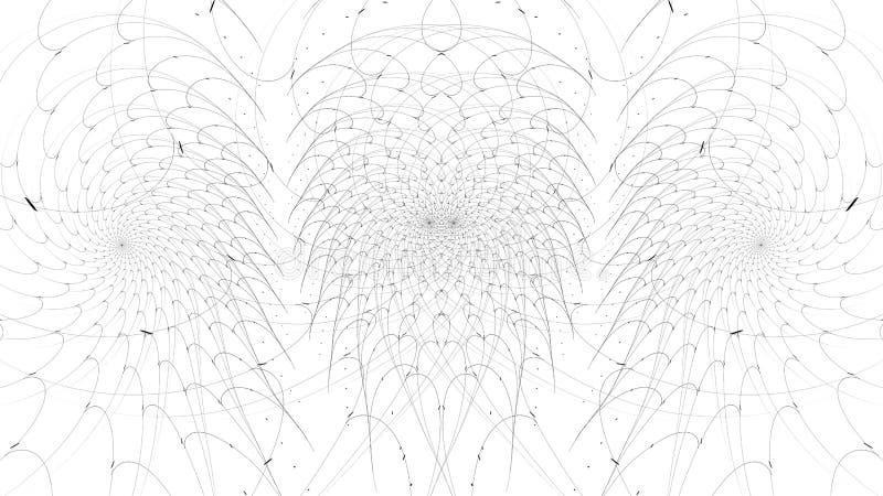 Abstrakt fractalillustration för monokrom stock illustrationer
