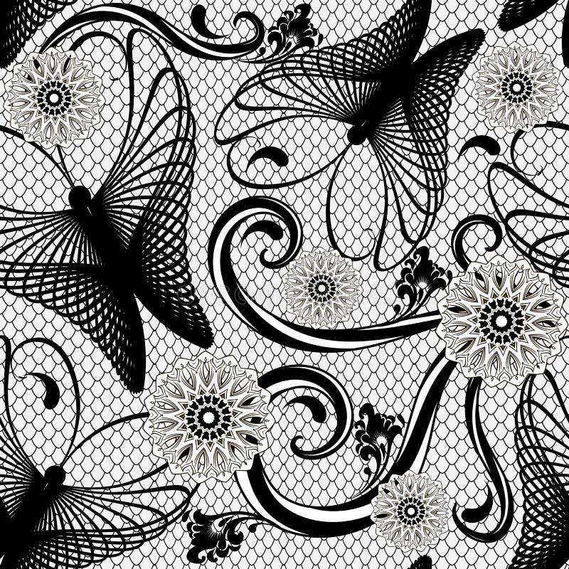 Abstrakt fractallinje sömlös modell för konstfjärilsvektor Elegans snör åt blom- bakgrund Dekorativa geometriska fjärilar, stock illustrationer