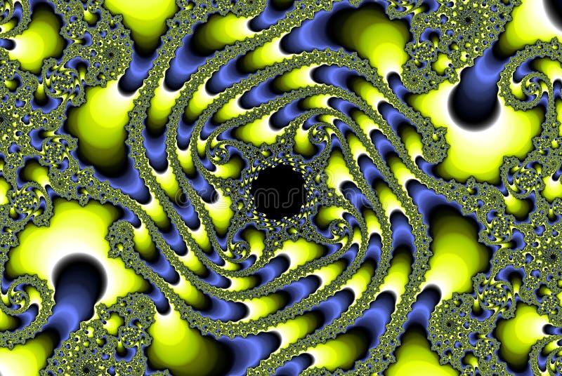 Abstrakt fractalplanetoidbild, guling och himmelblått arkivbild