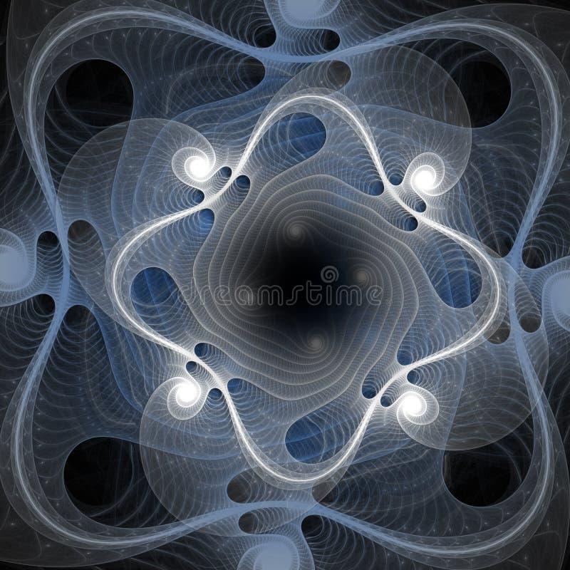 Abstrakt fractalvit och ljus - blå bakgrund för konstdesigndiagram stock illustrationer