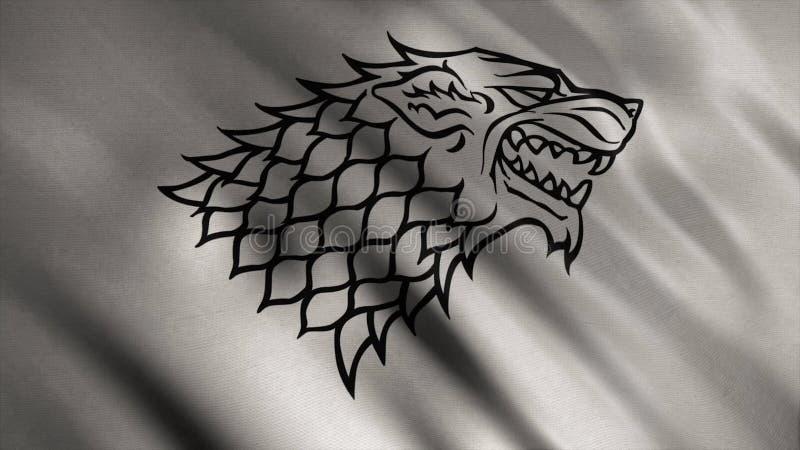 Abstrakt framkallande tyg av flaggan djur Kontur av vargen med svarta konturer på bakgrund av framkallande silver royaltyfri illustrationer