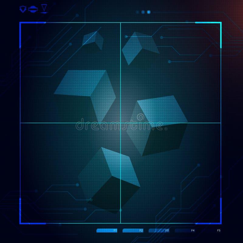 Abstrakt framtid futuristisk blå faktisk grafisk handlaganvändargränssnitt HUD för begrepp vektor illustrationer