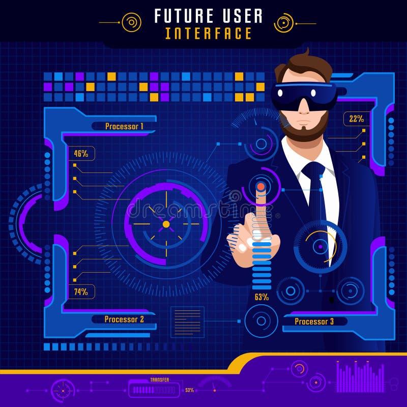 Abstrakt framtida användargränssnitt stock illustrationer