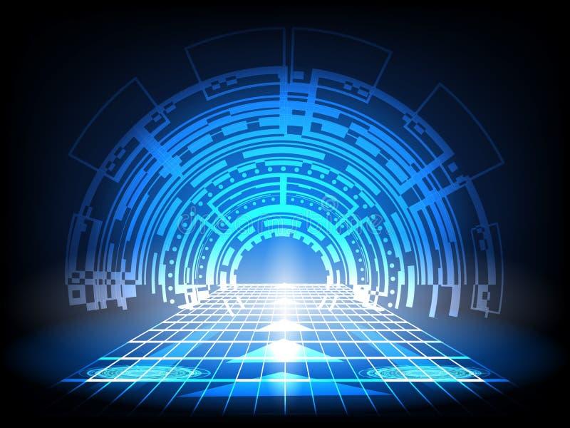 Abstrakt framtida cirkelbegreppsinnovation förbinder den digitala linjen teknik i comput för data för hastighet för digital tekno stock illustrationer