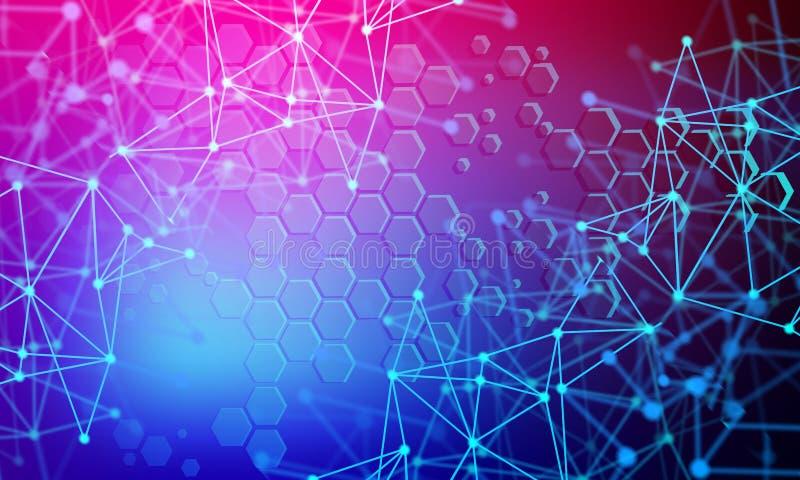 Abstrakt futuristisch - Molecules-Technologie mit linearen und polygonalen Mustern auf dunkelblauem Hintergrund Abbildung Vector  vektor abbildung