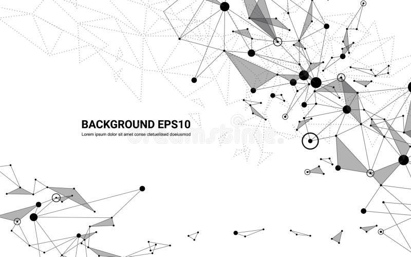 Abstrakt futuristisk bakgrund för molekyllinje- och polygonvit Begrepp för digital teknologi för nätverksanslutning vektor illustrationer