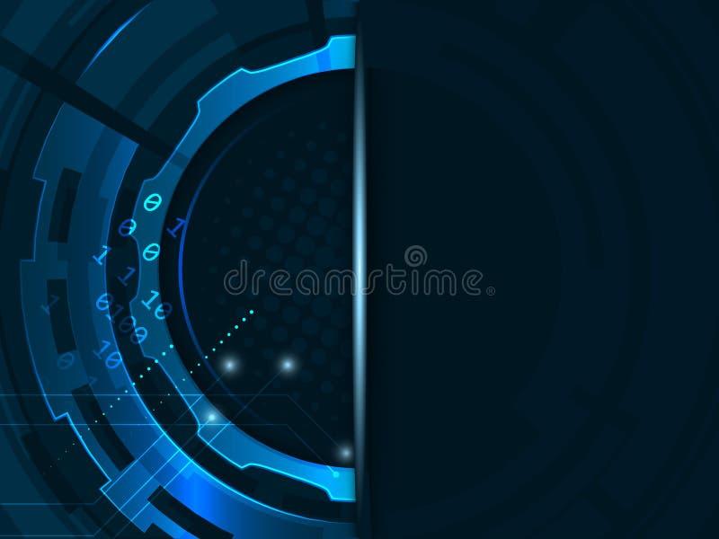 Abstrakt futuristisk bakgrund för teknologikugghjulhjul Vektorillustration med bandet för din text stock illustrationer