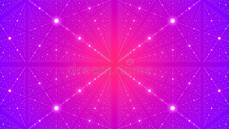 Abstrakt futuristisk bakgrund med illusion av o?ndligheten med m?nga prickar framf?rande 3d stock illustrationer