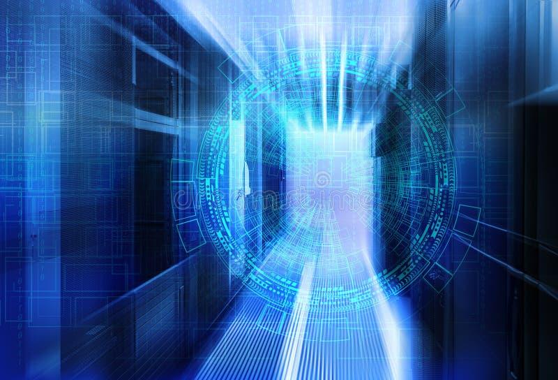 Abstrakt futuristisk bakgrund på slut upp modern inre av serverrum, toppen dator, datorhall arkivfoto