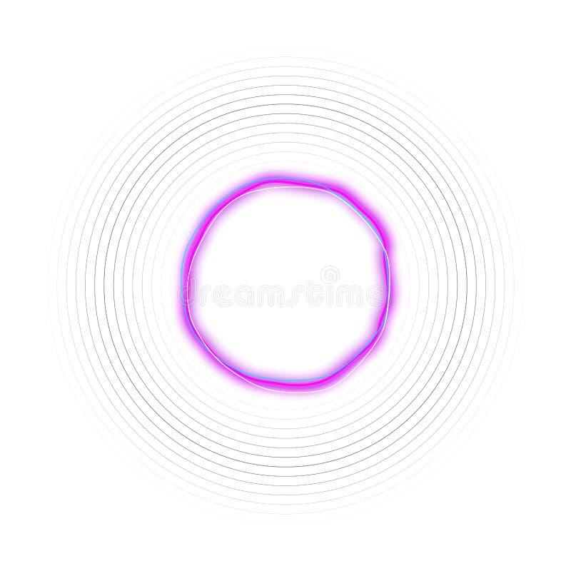 Abstrakt futuristisk designbakgrund för hög tech, cirkelneonram Glänsande baner som isoleras på vit bakgrund vektor illustrationer