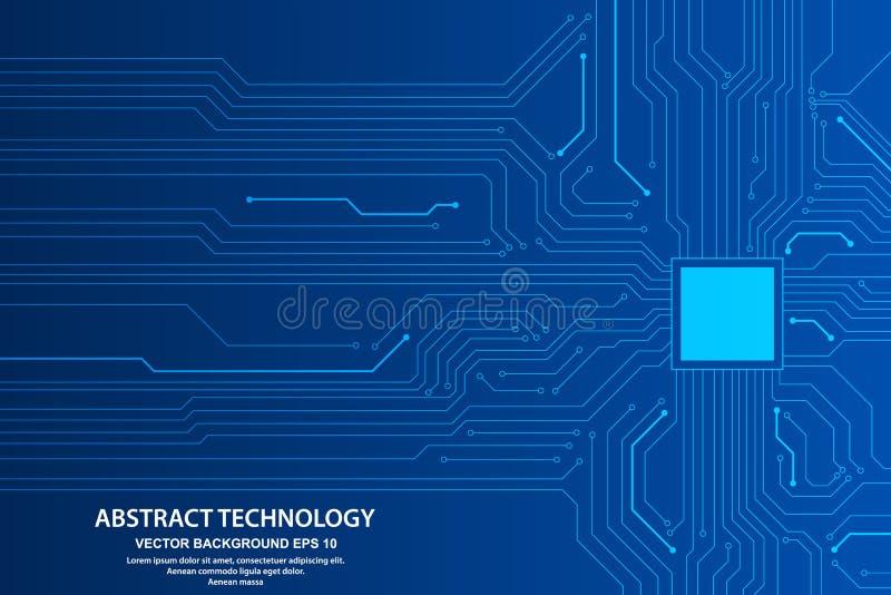 Abstrakt futuristisk illustration för strömkretsbräde, högteknologiskt begrepp för digital teknologi också vektor för coreldrawil stock illustrationer