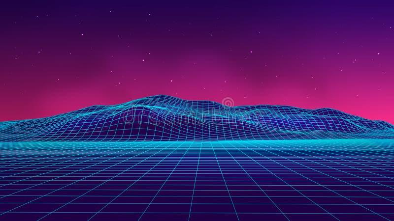 Abstrakt futuristisk landskap80-talstil Bakgrund för parti för vektorillustration80-tal Retro science fictionbakgrund för 80-tal royaltyfri illustrationer