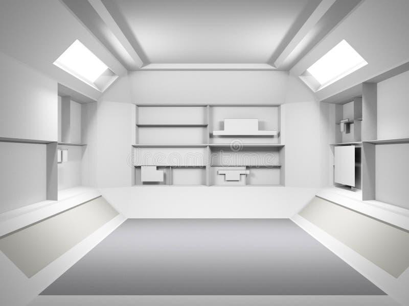 Abstrakt futuristisk ljus ruminredesign framförande 3d Fu royaltyfri illustrationer