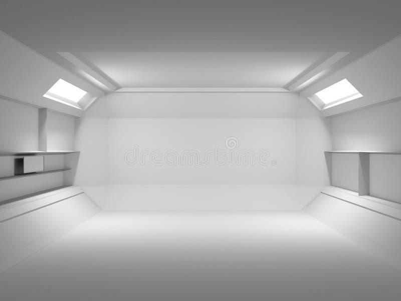 Abstrakt futuristisk ljus ruminredesign framf?rande 3d Framtida begrepp royaltyfri illustrationer