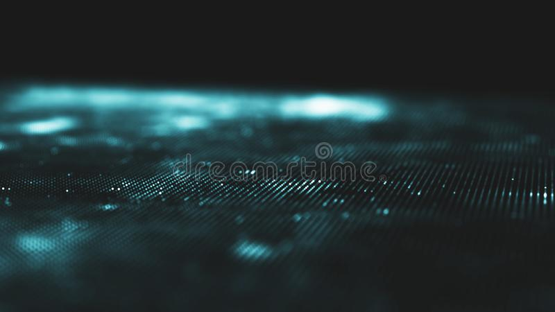 Abstrakt futuristisk - molekylteknologi med polygonal former på mörker - blå bakgrund Digital illustrationdesign vektor illustrationer