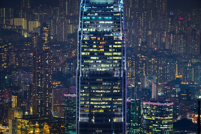 Abstrakt futuristisk nattcityscape Hong Kong arkivfoto