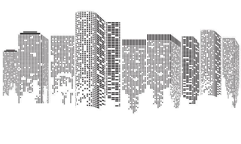 Abstrakt futuristisk stad Cityscapebyggnader som utgöras med prickar, Digital genomskinligt stadslandskap ocks? vektor f?r coreld stock illustrationer
