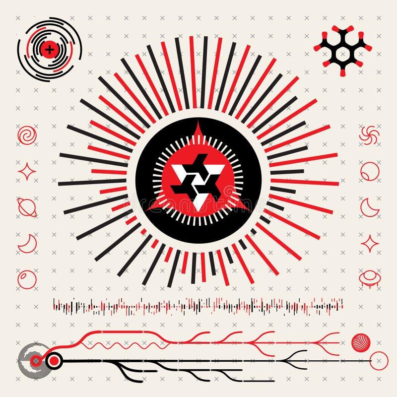 Abstrakt futuristisk Techno främling Logo Symbols HUD Icons Set stock illustrationer