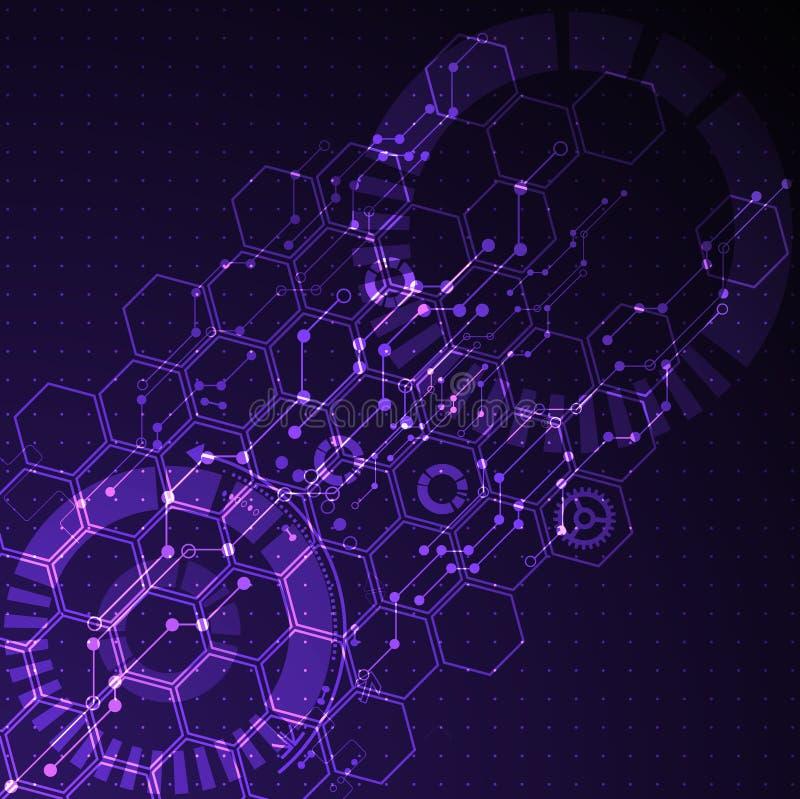Abstrakt futuristisk teknologiaffärsbakgrund stock illustrationer