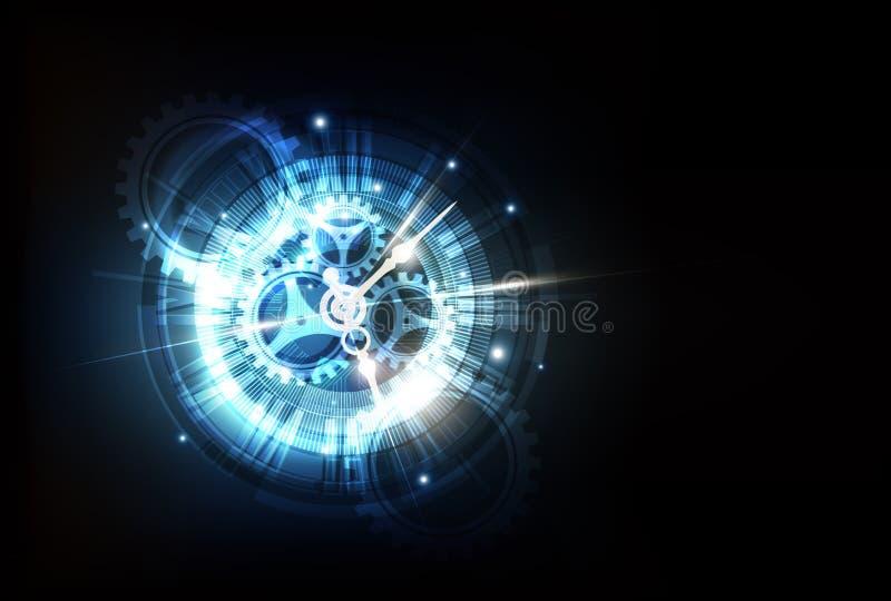 Abstrakt futuristisk teknologibakgrund med klockabegreppet och den Tid maskinen, vektor vektor illustrationer
