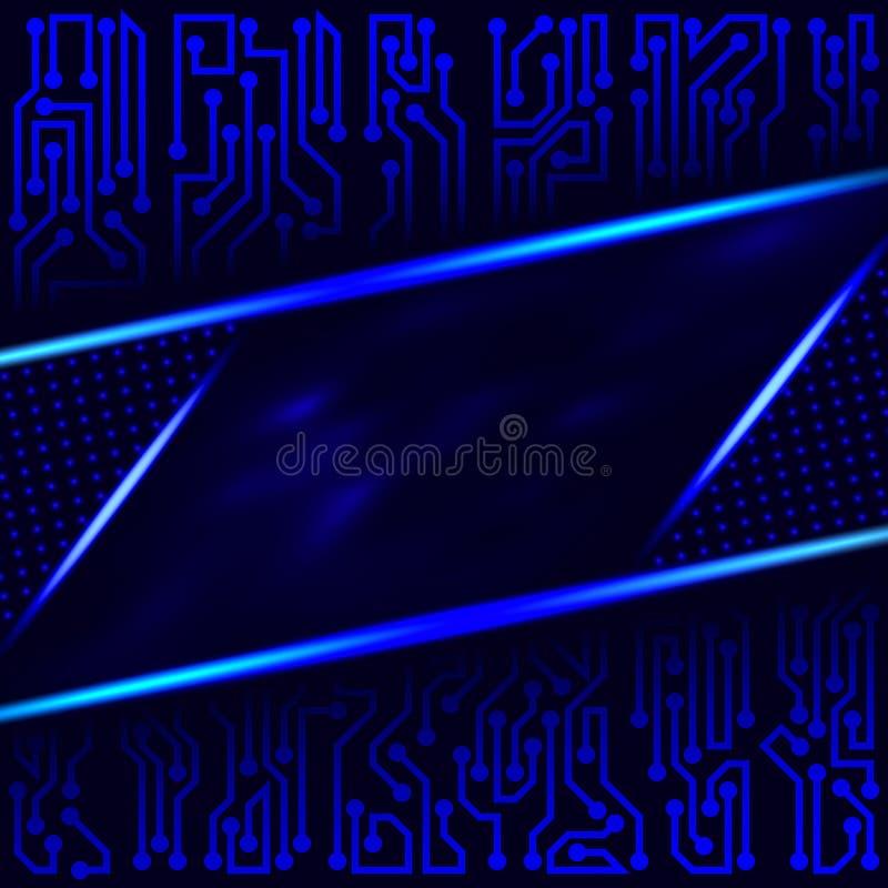 Abstrakt futuristisk teknologisk bakgrund av blåa skuggor med med beståndsdelar för strömkretsbräde stock illustrationer