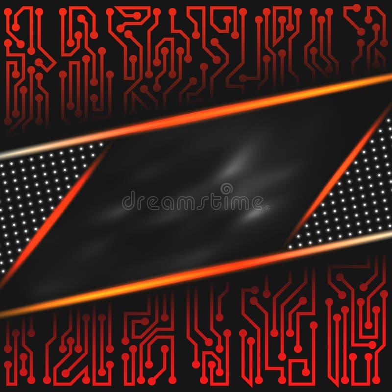 Abstrakt futuristisk teknologisk bakgrund av rött som är orange, svärtar, grånar, och vita skuggor med med beståndsdelar för strö vektor illustrationer
