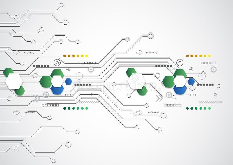 Abstrakt futuristisk teknologisk bakgrund med olika teknologiska beståndsdelar, vektor royaltyfri illustrationer