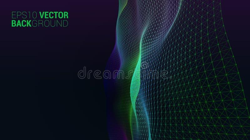 Abstrakt futuristiskt digitalt landskap för vektor stock illustrationer