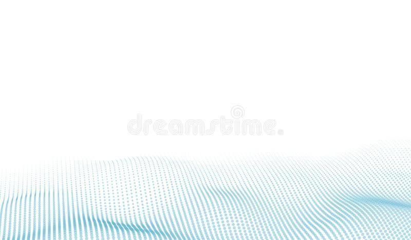 Abstrakt futuristiskt digitalt landskap för vektor med partikelprickar och stjärnor på horisont Konstgjord intelligens neon royaltyfri illustrationer