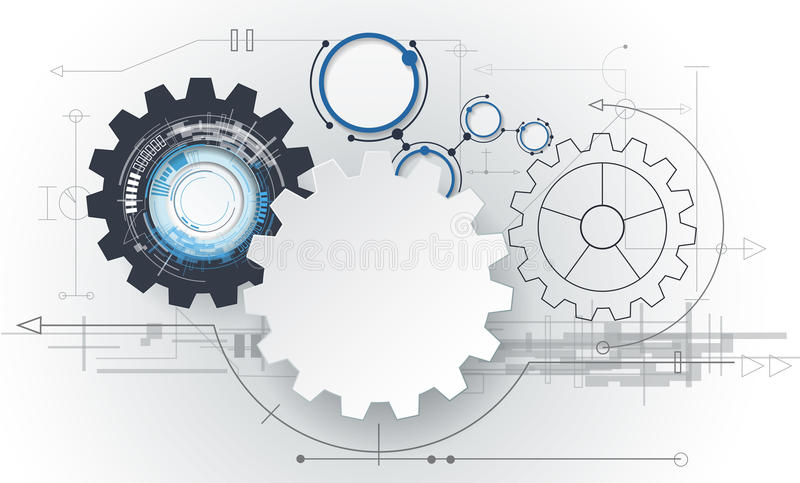 Abstrakt futuristiskt för vektor, kugghjulhjul för vitbok 3d på strömkretsbräde royaltyfri illustrationer