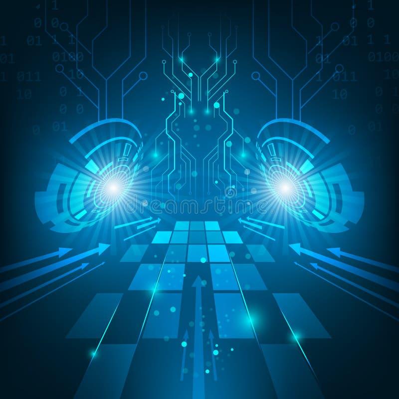 Abstrakt futuristiskt mörker för teknologiströmkretsbräde - blå bakgrund stock illustrationer