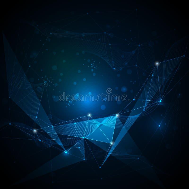 Abstrakt futuristiskt - molekylar och ljus polygonteknologi royaltyfri illustrationer