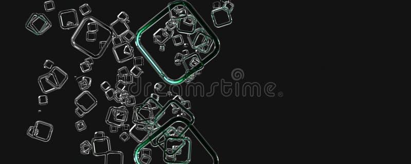 Abstrakt fyrkantig design för bakgrund för panoramaexponeringsglas 3D vektor illustrationer