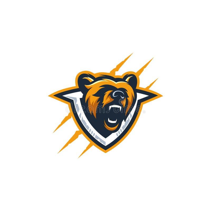 Abstrakt głowy niedźwiedzia kolorowy ilustracyjny wektorowy szablon ilustracji