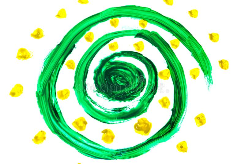 Abstrakt głęboki - zieleń wiruje, mieszał, farba kolorów whith żółte kropki zdjęcia stock
