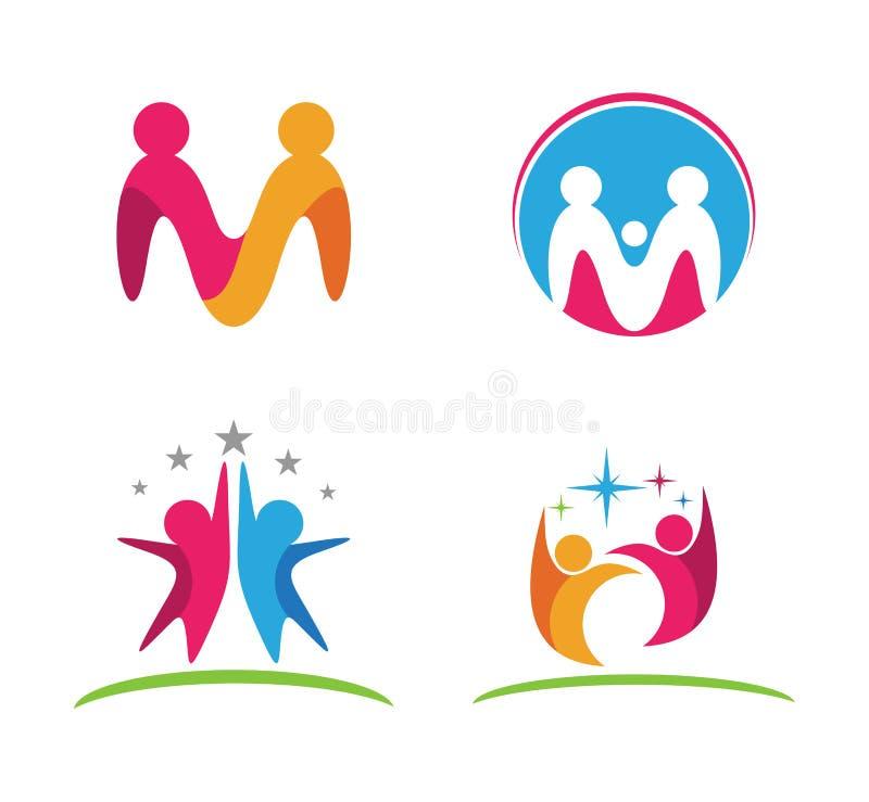 abstrakt gemenskap för personhjälpomsorg och utbildningslogoen planlägger stock illustrationer