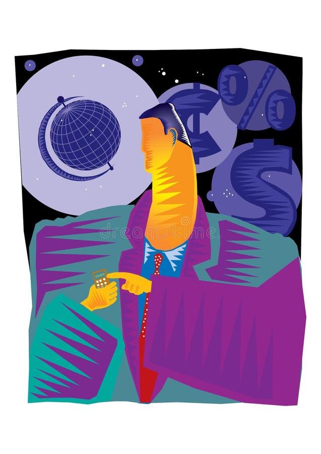 Abstrakt gemkonst av affärsmannen som gör en appell genom att använda en smart telefon stock illustrationer