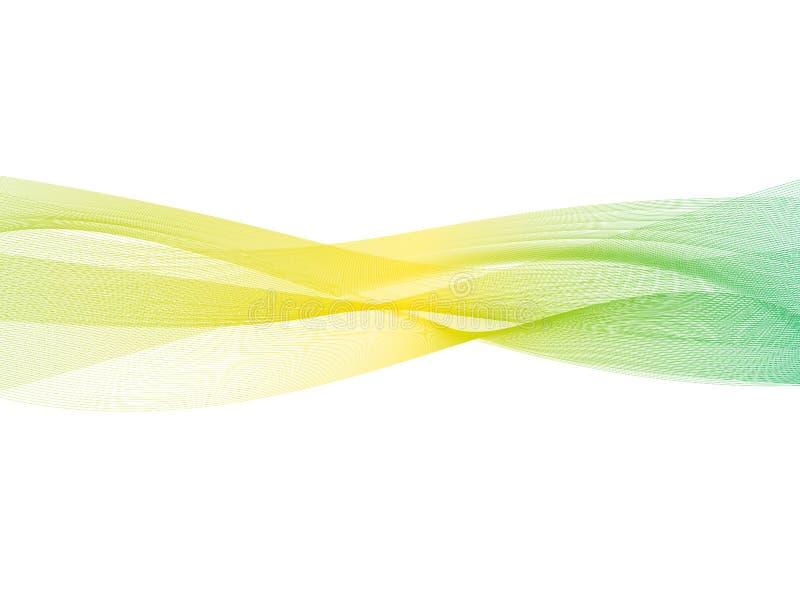 Abstrakt genomskinlig bakgrund för guling-gräsplan lutningvåg Tapet för beståndsdel för rökeffektdesign Modern design EPS10 stock illustrationer