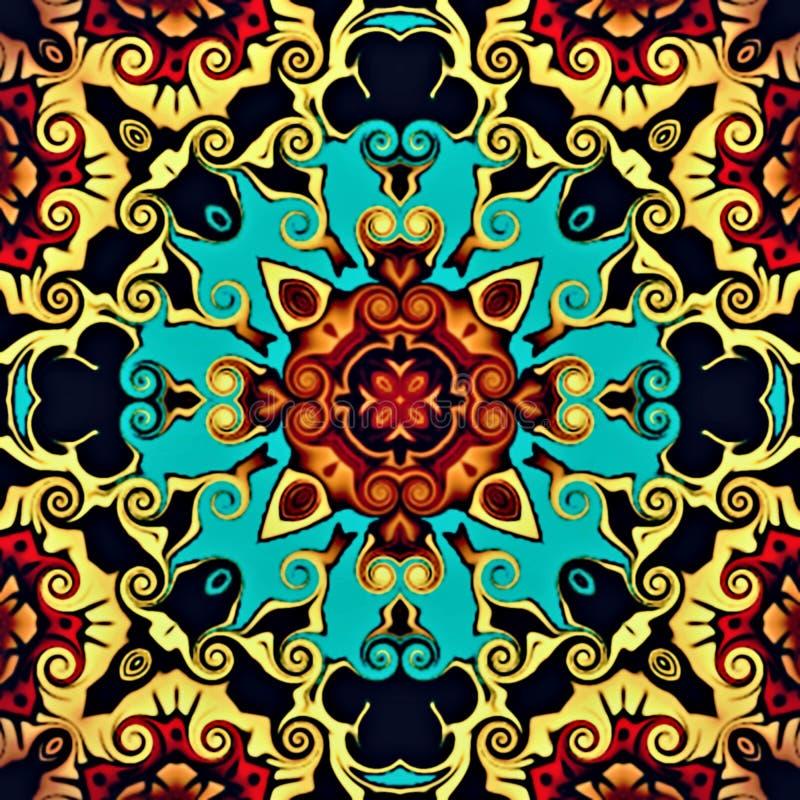 Abstrakt geometri av modern konst Mystisk östlig mandala traditionell design för blom- kalejdoskop Psykedelisk symmetrisk backgro royaltyfri illustrationer